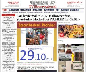 Das letzte mal in 2017 Halloweenfest, Spanferkel Hoffest bei PICHLER am 29.10