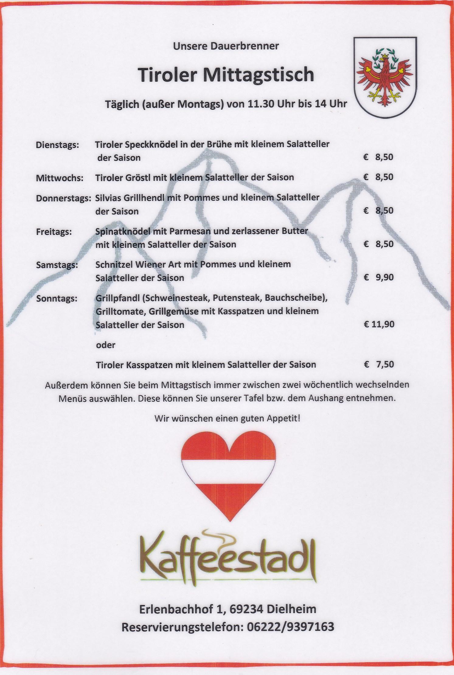 Täglich TIROLER Mittagstisch von 11.30 Uhr bis 14 Uhr Freudensprung Dielheim, Kaffeestadl, Mittagessen, Obstbau, Direktvermarkter, Frisch vom Landwirt, Selbsterzeuger, Kraichgau, frische Eier, Dielheim Eier, Kraichgau Eier, TVüberregional, Döll Oliver Zeitung, Tanja Freudensprung, Uwe Freudensprung