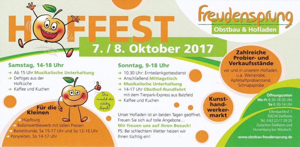 Freudensprung Hoffest, 7.10 und 8.10.2017, für Klein und Groß ein unvergessliches Erlebnis