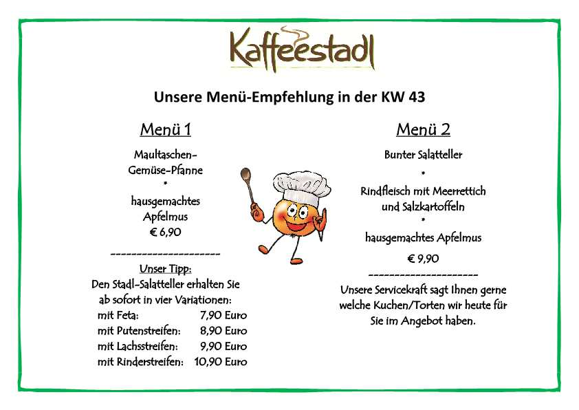 Freudensprung Kaffeestadl Mittagsmenü vom 23.10 bis 29.10. 2017, 11:30 Uhr - 18 Uhr
