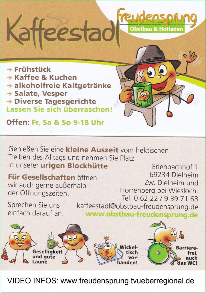 STELLENANGEBOT FREUDENSPRUNG: Wir suchen Verstärkung in DIELHEIM, Kaffeestadl Freudensprung Obst und Hofladen Heimservice TVüberregional Werbeplakat