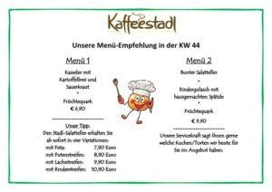 Mittagstisch, Mittagessen Freudensprung Kaffeestadl Menü, Speisekarte für die Woche KW 44 vom 31.10. bis 05.11.2017, 11.30 bis 18 Uhr