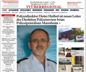 Polizeidirektor Dieter Hoffert ist neuer Leiter der Direktion Polizeireviere beim Polizeipräsidium Mannheim TVüberregional