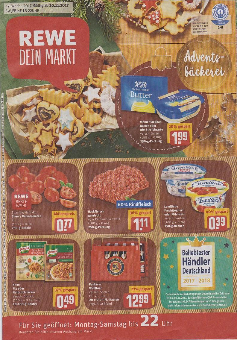 Reilingen, Rewe Angebote vom 20.11. bis 25.11.2017 | TVueberregional