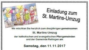 REILINGEN: St. Martins-Umzugder katholischen und evangelischen Pfarrgemeinden amSamstag, den 11.11.2017