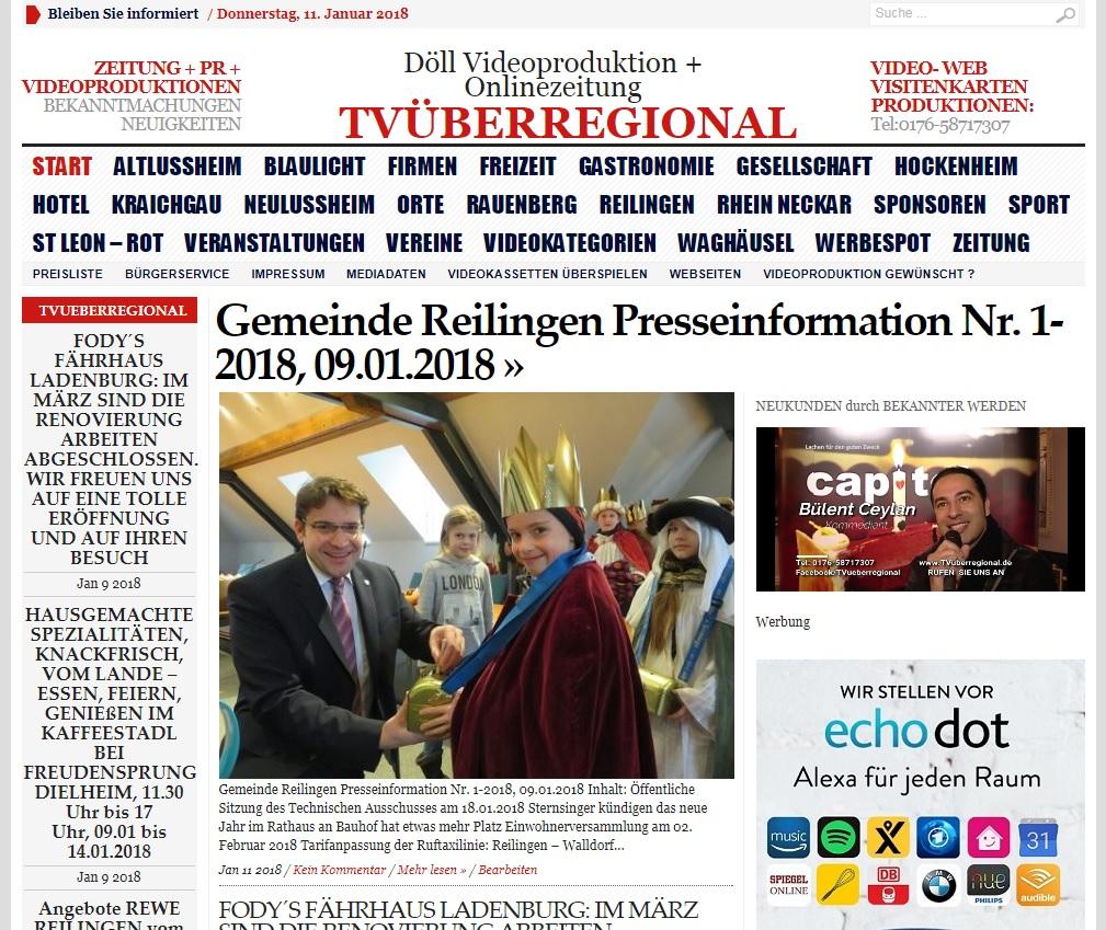 Gemeinde Reilingen Presseinformation Nr. 1-2018, 09.01.2018 - TVüberregional Onlinezeitung, Reilingen Videoproduktion Oliver Döll, Döll Video
