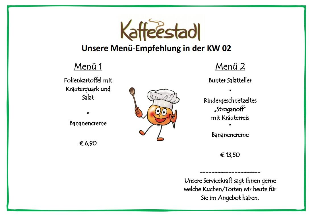Spezialitäten nur in der angegebenen Woche: Kaffeestadl Tagesmenü - gültig ab 09.01 bis 14.01.2018 - Freudensprung Dielheim