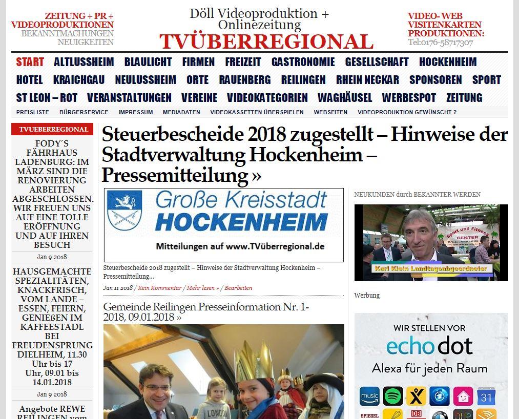 Steuerbescheide 2018 zugestellt – Hinweise der Stadtverwaltung Hockenheim – Pressemitteilung