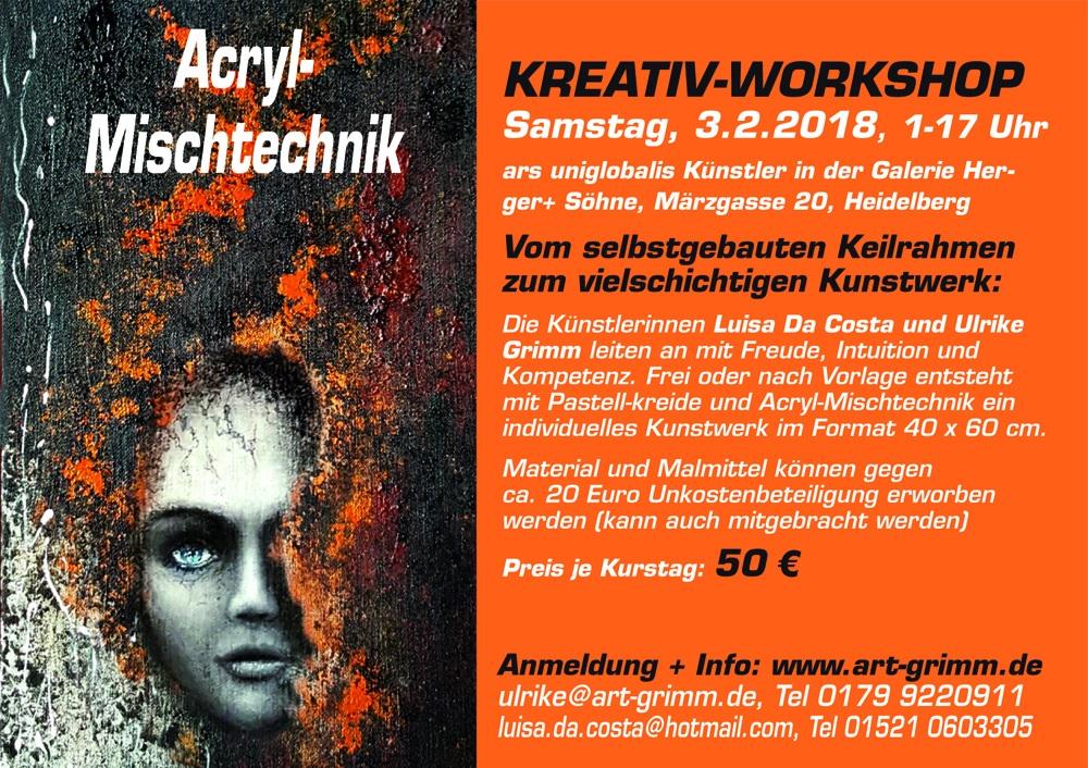Arcyl-MischtechnikKREATIV-WORKSHOP am 3.2.2018 in Heidelberg, Ulrike Grimm