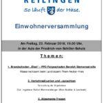 EINWOHNERVERSAMMLUNG in REILINGEN. ALLE BÜRGER von REILINGEN werden gebeten am 23.2.18 teilzunehmen