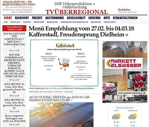Menü Empfehlung vom 27.02. bis 04.03.18 Kaffeestadl, Freudensprung Dielheim TVüberregional, 500px