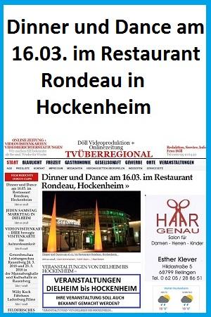 Dinner und Dance am 16.03. im Restaurant Rondeau, Hockenheim, TVüberregional, Hockenheim Lokal, 300 x 450 pixel