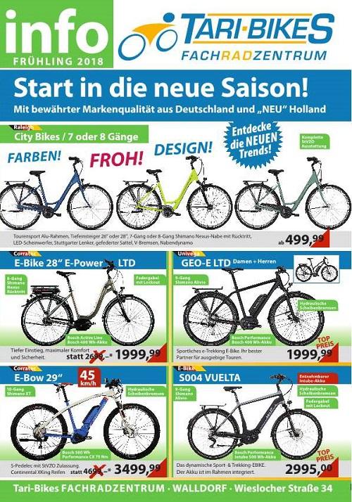Tari Bikes 2018, Fahrrad Fachhandel Walldorf, Plakat 500 Pixel TVüberregional