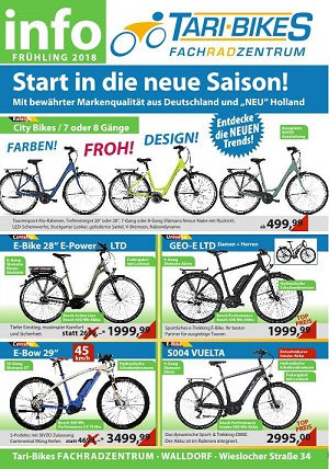 Tari Bikes 2018, Fahrrad Fachhandel Walldorf, Plakat Plakat 300 Pixel TVüberregional
