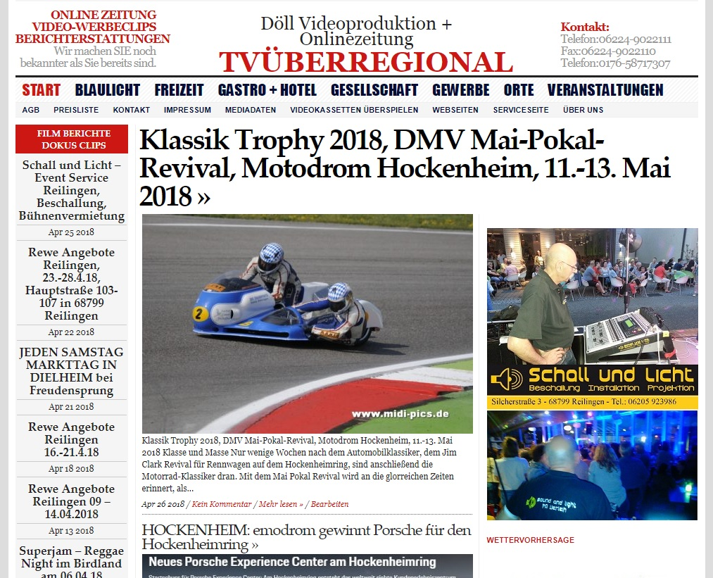 Klassik Trophy 2018, DMV Mai-Pokal-Revival, Motodrom Hockenheim, 11.-13. Mai 2018, Videoproduktion Hockenheim, TVüberregional, Schall und Licht,