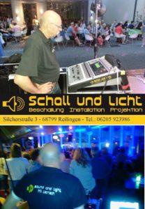 Schall und Licht, Mike Wolf, Beschallung, Beleuchtung, Bühnenvermietung, Sänger, Band mieten, Abmischen, Soundkonzeption, Reilingen, Schall und Licht - Event Service Reilingen, Beschallung, Bühnenvermietung, Mike Wolf Tel 0171-7749140 https://www.facebook.com/SchallundLicht/ www.schallundlicht.de Schall und Licht Silcherstrasse 3 68799 Reilingen Telefon:06205 923986 Telefax: 06205 923985
