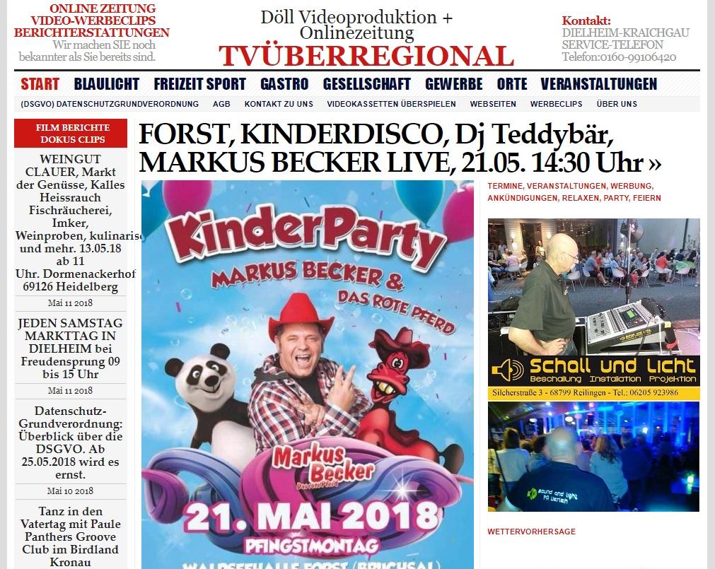 FORST, KINDERDISCO, Dj Teddybär, MARKUS BECKER LIVE, 21.05. 14-30 Uhr, TVüberregional