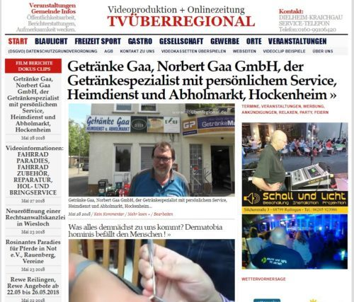 Getränke Gaa, Hockenheim, Faßbier Verkauf, Getränkeliefer Service, Getränkheimdienst, Getränke Abholmarkt, Norbert Gaa, Videoproduktion Hockenheim, TVüberregional,