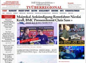 Maipokal Ankündigung Rennfahrer Nicolai Kraft, BMC Pressereferent Chris Sass, Hockenheimring, TVü