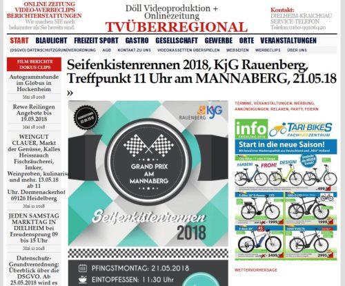 Seifenkistenrennen 2018, KjG Rauenberg, Treffpunkt 11 Uhr am MANNABERG, 21.05.18, TVüberregional