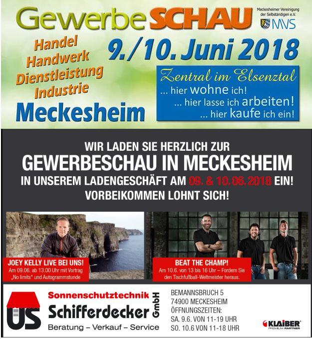 Sonnenschutztechnik Schifferdecker, Meckesheim, Gewerbeschau Meckesheim, SFZ Marktplatzfest, 09.06.2018 um 11 Uhr bis 10.06.2018