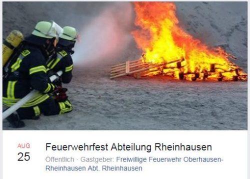 Facebook Info: Feuerwehrfest Feuerwehr Rheinhausen