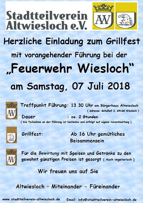 Grillfest Alt-Wiesloch, Grillfest des Stadtteilvereins Altwiesloch mit Führung am 07.07.18