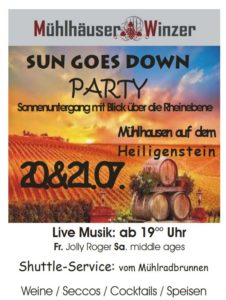 MÜHLHÄUSER WINZER, SUN GOES DOWN PARTY, 20.& 21.07.2018