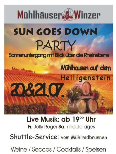 MÜHLHÄUSER WINZER, SUN GOES DOWNPARTY,20.& 21.07.2018