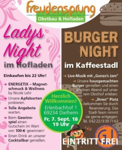 Freudensprung, Ladys Night, Burger Night, Gonzos Jam,