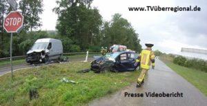 Dielheim, Frontalzusammenstoß, Schwerverletzte auf der Landesstraße 612, Höhe Erlenbachhof. Videobericht.