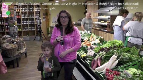 Filmbeitrag für Freudensprung, Gonzos Jam, Ladys Night im Hofladen und Burger Night im Kaffeestadl, Dielheim