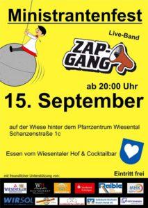 Ministrantenfest Waghäusel - Wiesental, Eintritt frei, Schanzenstrasse 1 c, mit ZAP GANG am 15.09.18 Open Air Party Night