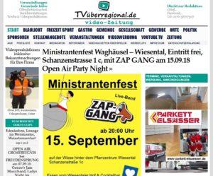 Ministrantenfest Waghäusel - Wiesental, Eintritt frei, Schanzenstrasse 1 c, mit ZAP GANG am 15.09.18 Open Air Party Night, TVüberregional