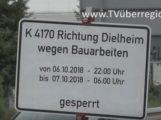 Rauenberg, Dielheim, Vollsperrung der K 4170 am 06.10. bis 07.10.18
