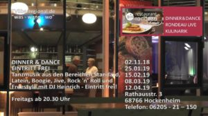 Dinner + Dance, Restaurant Rondeau in Hockenheim, TVüberregionalzeitung