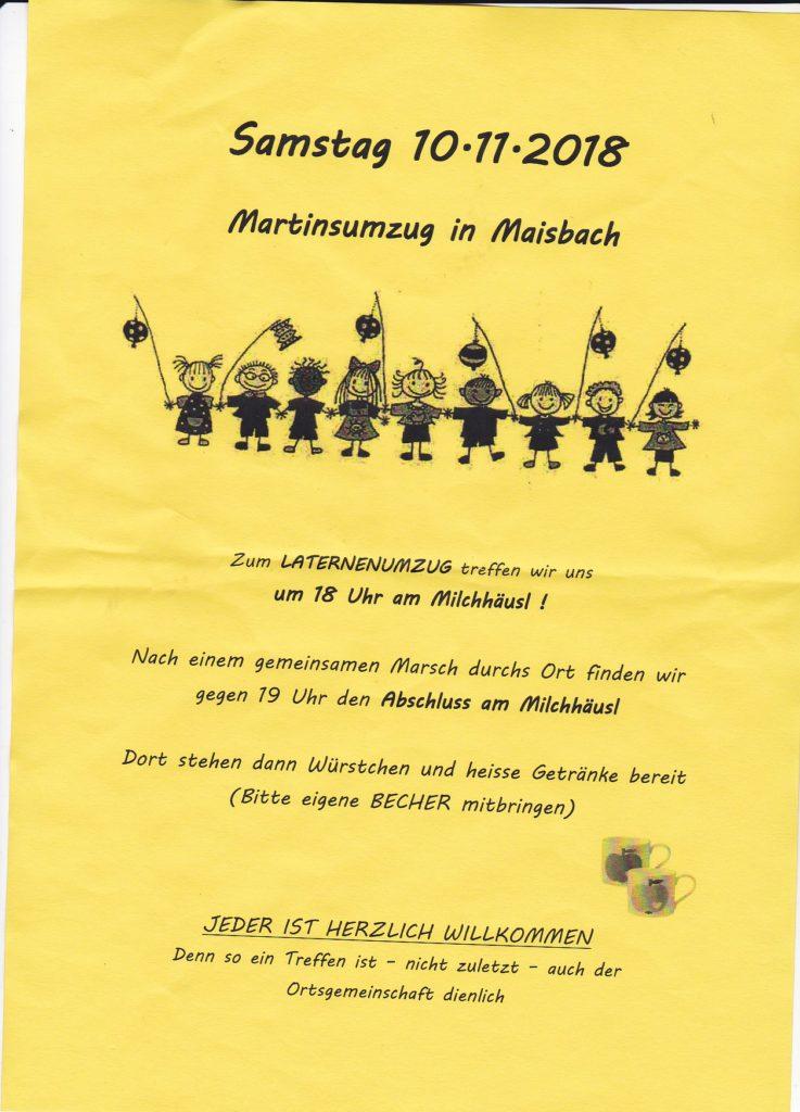 Martinsumzug, Laternenumzug in Maisbach am 10.11.2018 um 18 Uhr am Milchhäusel, Großereignis in Maisbach - alle herzlich willkommen. Bitte teilen, bekannt machen, Freunde mit nehmen.