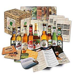 """Bier Spezialitäten aus Deutschland"""" Geschenkidee für Männer INKL. Bierdeckel + Geschenkkarton + Bier-Info. Biergeschenk für Männer oder als ausgefallene Geschenke für den Freund."""
