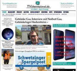 Getränke Gaa, Interview mit Norbert Gaa, Getränkelager Hockenheim, Titelseite TVüberregional