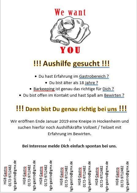 PERSONAL GESUCHT, HGB Gastro, Hockenheim