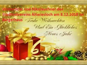 Winterfeier und Nikolausfeier des Stadtteilvereins Altwiesloch am 8.12.2018 im Bürgerhaus