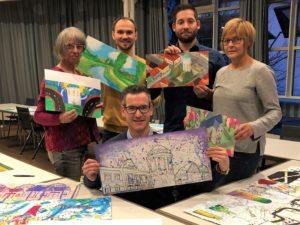Hockenheim, Maßnahme zum Jubiläumsjahr - bunte Bauzäune sollen zum Blickfang werden