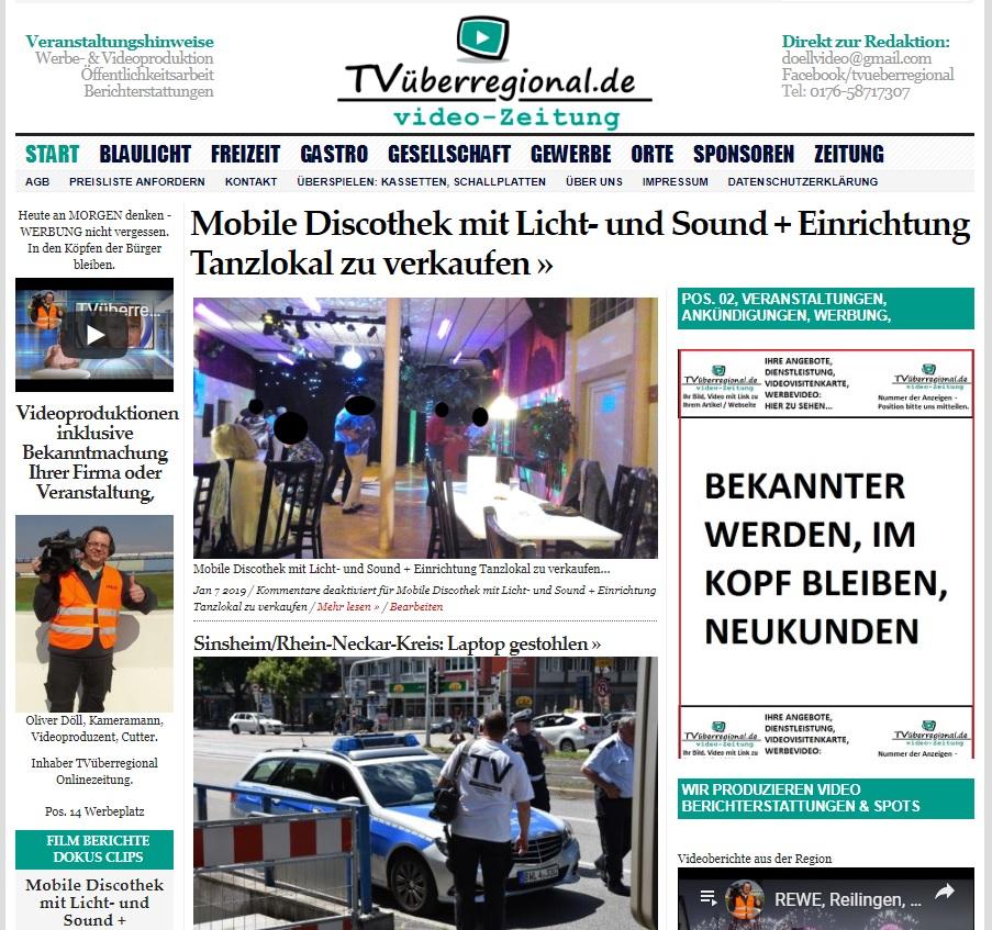 Mobile Discothek mit Licht- und Sound + Einrichtung Tanzlokal zu verkaufen, Onlinezeitung, TVüberregional,