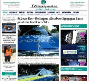 St.Leon-Rot – Reilingen, alleinbeteiligt gegen Baum gefahren, leicht verletzt, TVüberregional, Onlinezeitung