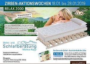 Wohn- und Schlafberatung, Relax2000, Markus Kapp, Zirben Aktion 18.01 bis 28.01.19
