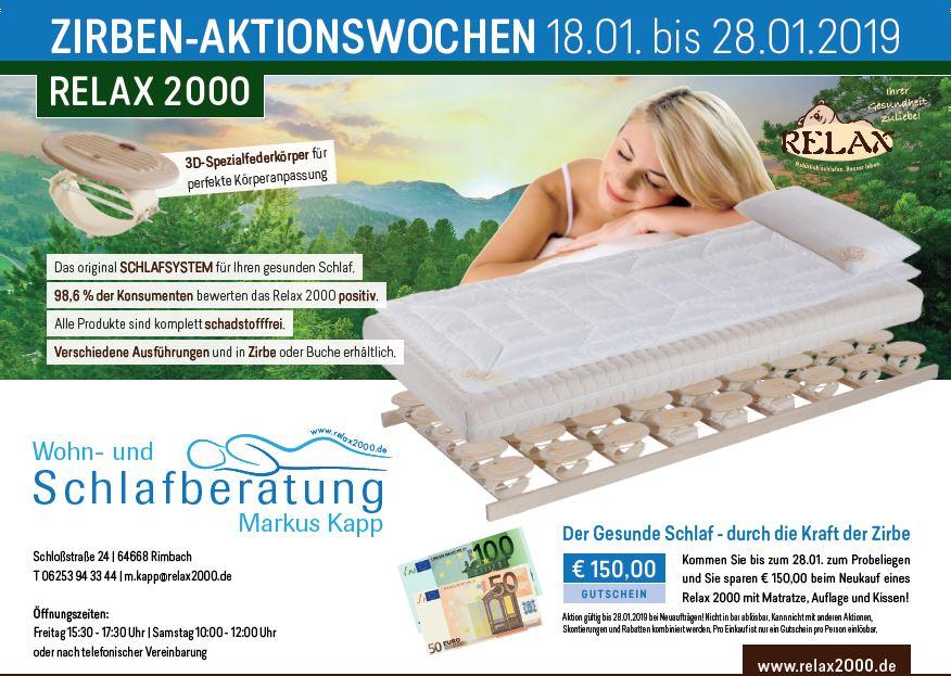 Zirbenholz-Betten-Aktion, Markus Kapp, vom 18.01. bis 28.01.2019