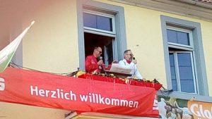 Umzugschef Marco De Benedetti und Schirmherr Oberbürgermeister Walter Heiler begrüßten die Besucher