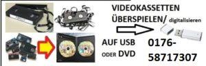 Videokassetten überspielen, digitalisieren, Videokassetten retten, VHS Video, Hi8 Videokassette, Normal8 Videokassette, auf DVD, auf USB Stick,