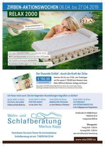Zirben Aktions Wochen, ab 06.04. - 27.04.2019, Relax 2000, Markus Kapp, Schlafberatung, Bettensystem