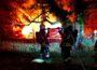 Gartenlaube durch Brand zerstört.